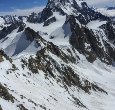 Dente Del Gigante (from Aiguille Entreves with the Matterhorn in the far distance)